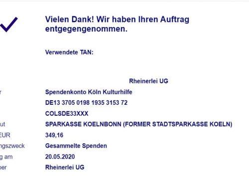Gesammelte Spenden an die Kölner Kulturhilfe weitergleitet